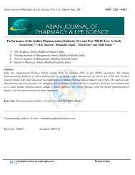Performance - asian journal of pharmacy & life science