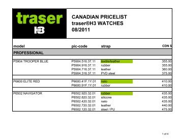 CANADIAN PRICELIST traser®H3 WATCHES 08/2011 - traser.ca