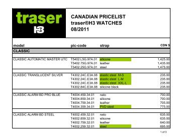 Traser Cdn Master Aug 2011 - Traser Watches