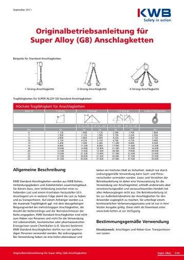 Originalbetriebsanleitung für Super Alloy (G8) Anschlagketten - KWB