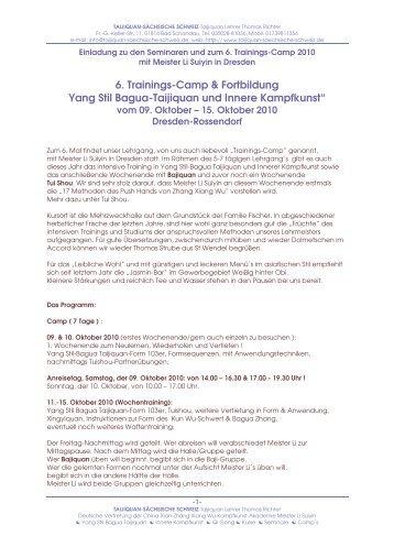 6. Trainings-Camp & Fortbildung Yang Stil Bagua ... - Udo Werner