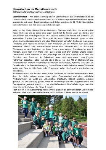 Neunkirchen im Medaillenrausch - TSV Neunkirchen am Brand