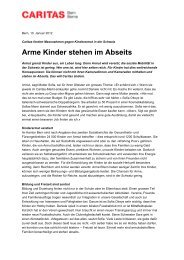 Medienmitteilung Kampagne «Abseits» - Caritas Bern
