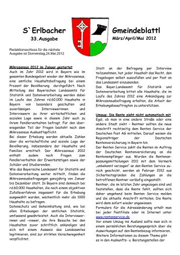 Gemeindezeitung 33. Ausgabe März 2012 - Erlbach