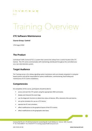 CTC Software Maintenance - Invensys Rail