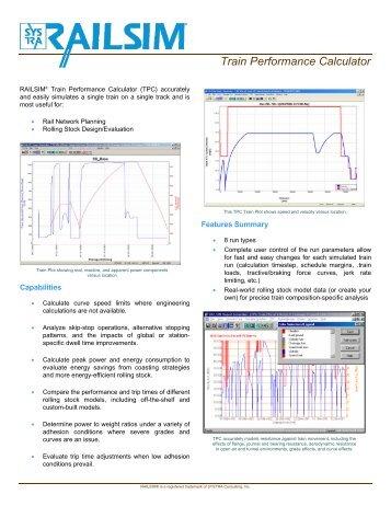 Train Performance Calculator - SYSTRA's RAILSIM Simulation ...
