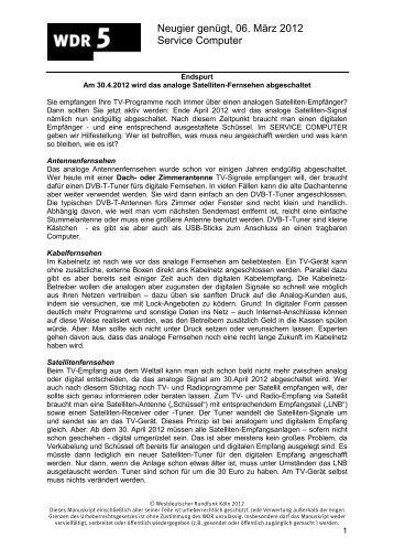Neugier genügt, 06. März 2012 Service Computer - WDR 5