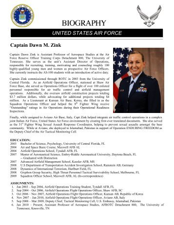 Captain Dawn M. Zink UNITED STATES AIR FORCE