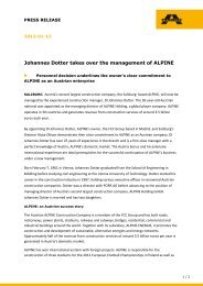 Johannes Dotter takes over the management of ALPINE