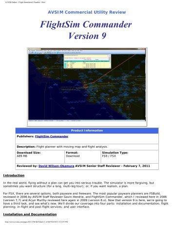 FlightSim Commander Version 9 - AVSIM Online