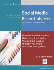 Social Media Essentials 2013 - Altamont Group