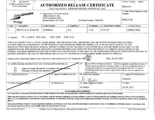 faa form 8130-3, airworthiness approval tag - falcon