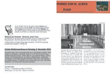 24.10. Sonntag - Gemeinde Plaus