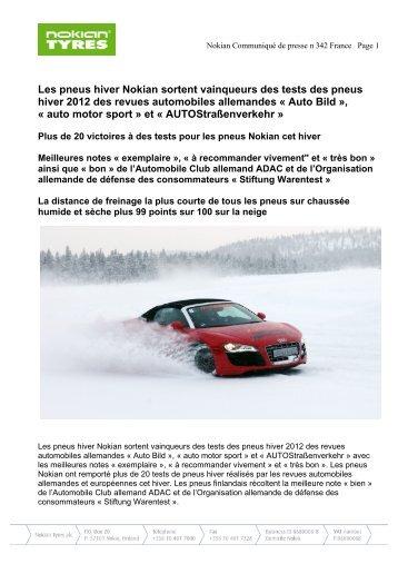 Les pneus hiver Nokian sortent vainqueurs des tests ... - Nokian Tyres