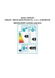 Winter | DUNLOP DUNLOP WIN-4D 225/55 R16 99 H XL - C, E, 1 ...