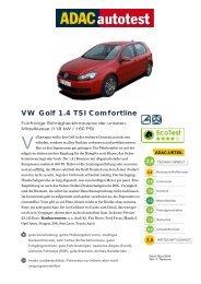 VW Golf 1.4 TSI Comfortline - ADAC
