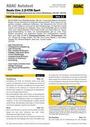 Umfassender Test Honda Civic 2.2i-CTDi Sport - ADAC