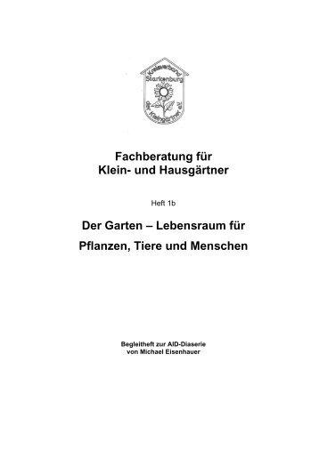 Fachberatung für Klein- und Hausgärtner Der Garten – Lebensraum ...
