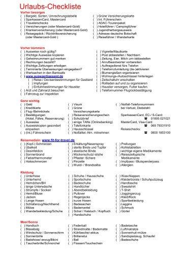 Urlaubs Checkliste
