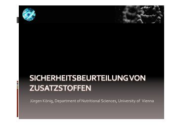Jürgen König, Department of Nutritional Sciences, University of Vienna
