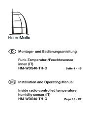 HM-WDS40-TH-O Installation and Operating ... - Theunissen 24