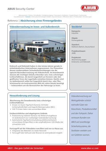 ABUS Security-Center Referenz   Absicherung eines Firmengeländes