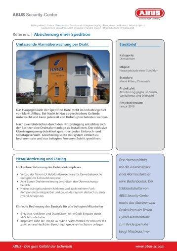ABUS Security-Center Referenz   Absicherung einer Spedition