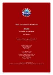 Preisliste für Kategorie: Rest der Welt - und Getränke-Welt Weiser