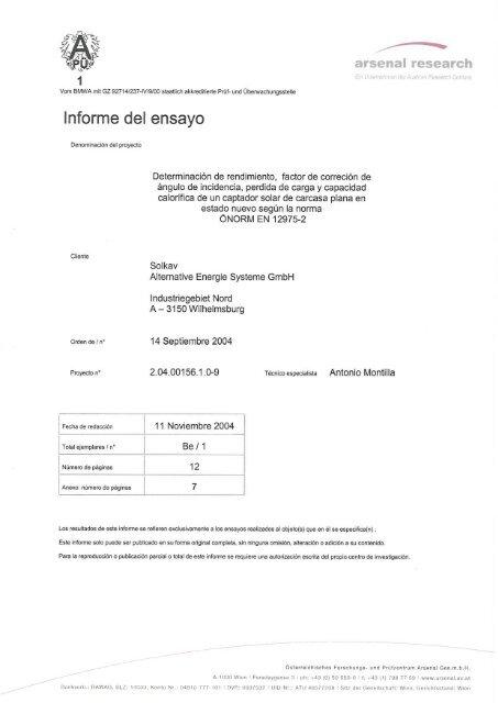 Informe del ensayo