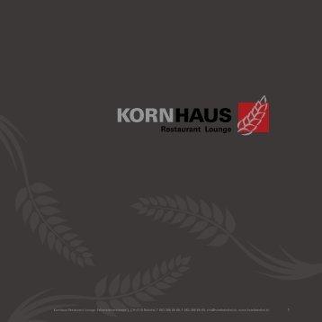 Speise und Getränkekarte Kornhaus - Hotel Balsthal