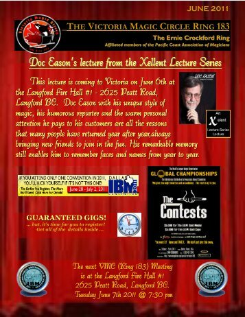 Doc Eason's lecture from the Xellent Lecture Series - Victoria Magic ...
