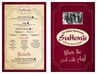 'Like' us on - Sutton's Restaurant