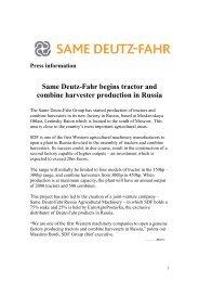 Press information - Same Deutz Fahr's