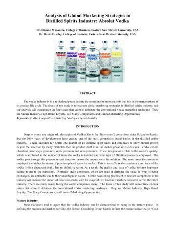Analysis of Global Marketing Strategies in Distilled Spirits ... - JGBM
