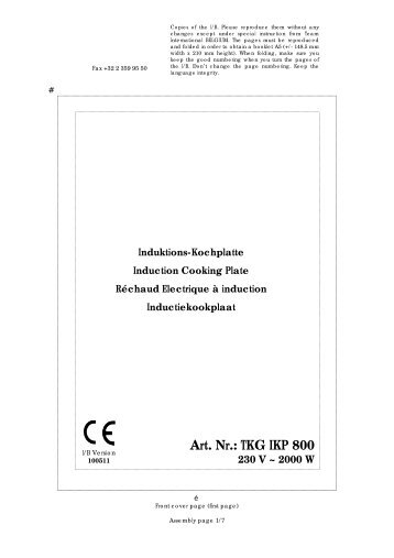 Induktions-Kochplatte Induction Cooking Plate Réchaud ... - Efbe