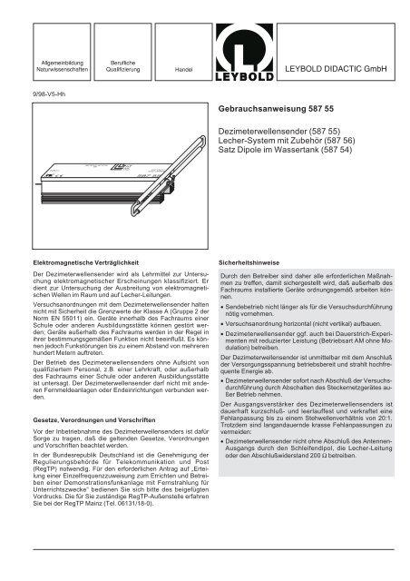 Gebrauchsanweisung 587 55 Dezimeterwellensender Ld Didactic
