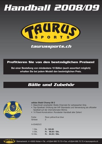 Handball News 2008/09 - TAURUS SPORTS Kloten