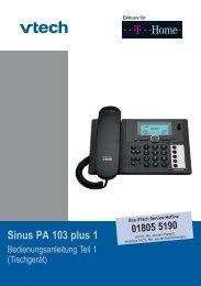 Bedienungsanleitung Sinus PA 103 plus 1 - Hilfe & Service - Telekom