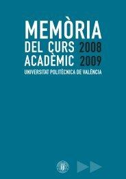 Memòria del curs acadèmic 2008-2009 - UPV