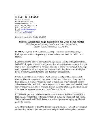 NEWS RELEASE - Label Printers