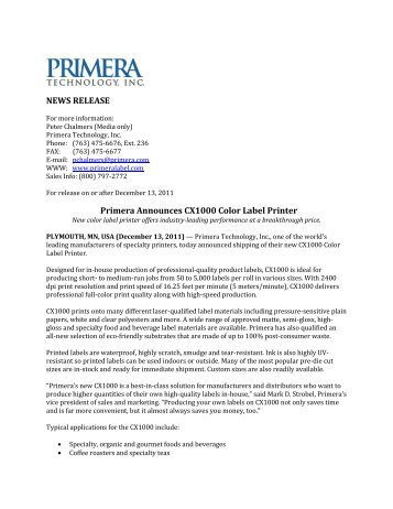 NEWS RELEASE Primera Announces CX1000 ... - Label Printers