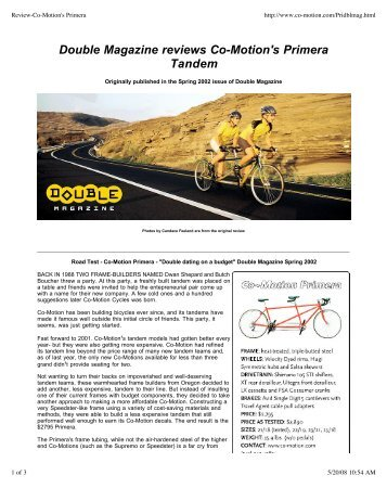 Double Magazine Reviews Co-Motion's Primera ... - Co-Motion Cycles