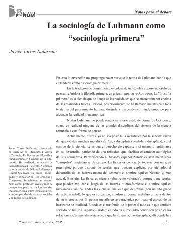 """La sociología de Luhmann como """"sociología primera"""" - Universidad ..."""