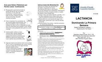 Lactancia - Dominando La Primera Semana - University of Nevada ...
