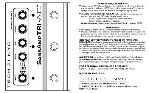 TRI-A C  manual pdf - Tech 21