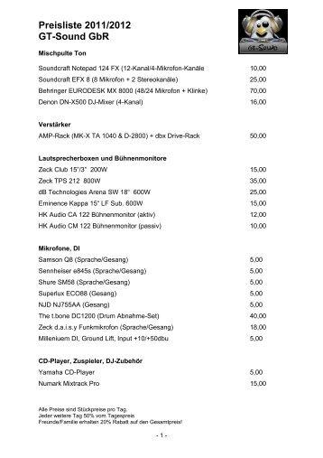 Preisliste 2011/2012 GT-Sound GbR