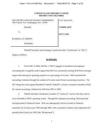 SEC Complaint vs. Kimon Daifotis and Randall Merk