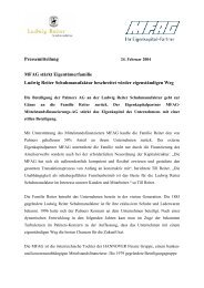 Pressemitteilung MFAG stärkt Eigentümerfamilie Ludwig Reiter ...