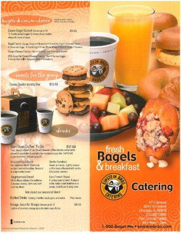 Fresh Bagels & Breakfast Catering Pick-Up Menu - Dining Services