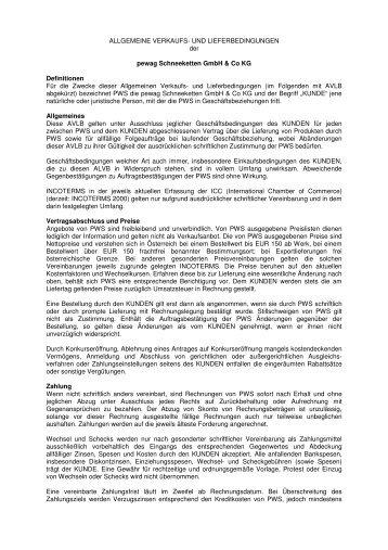 Allgemeine Verkaufs- und Lieferbedingungen der pewag - KWB